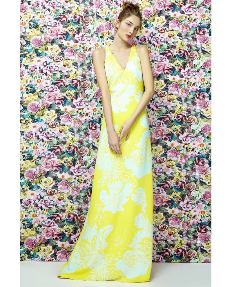 vestido estampado amarillo limón