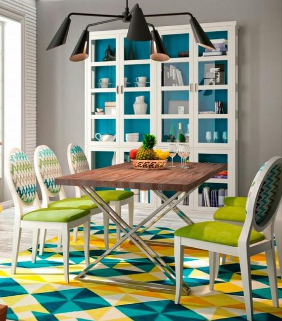 sillas-tapizadas-chevron-y comedor-colores