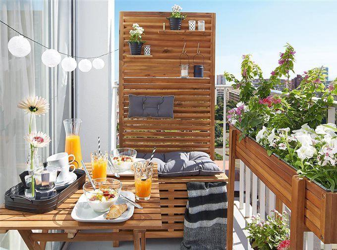 decorar las terrazas anchas se puede escoger una estructura fija de madera preparada para exterior